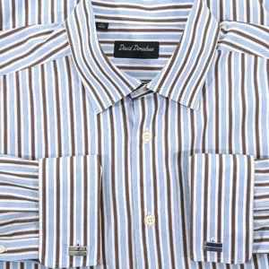 David Donahue Spread Collar Dress Shirt 17 32/33